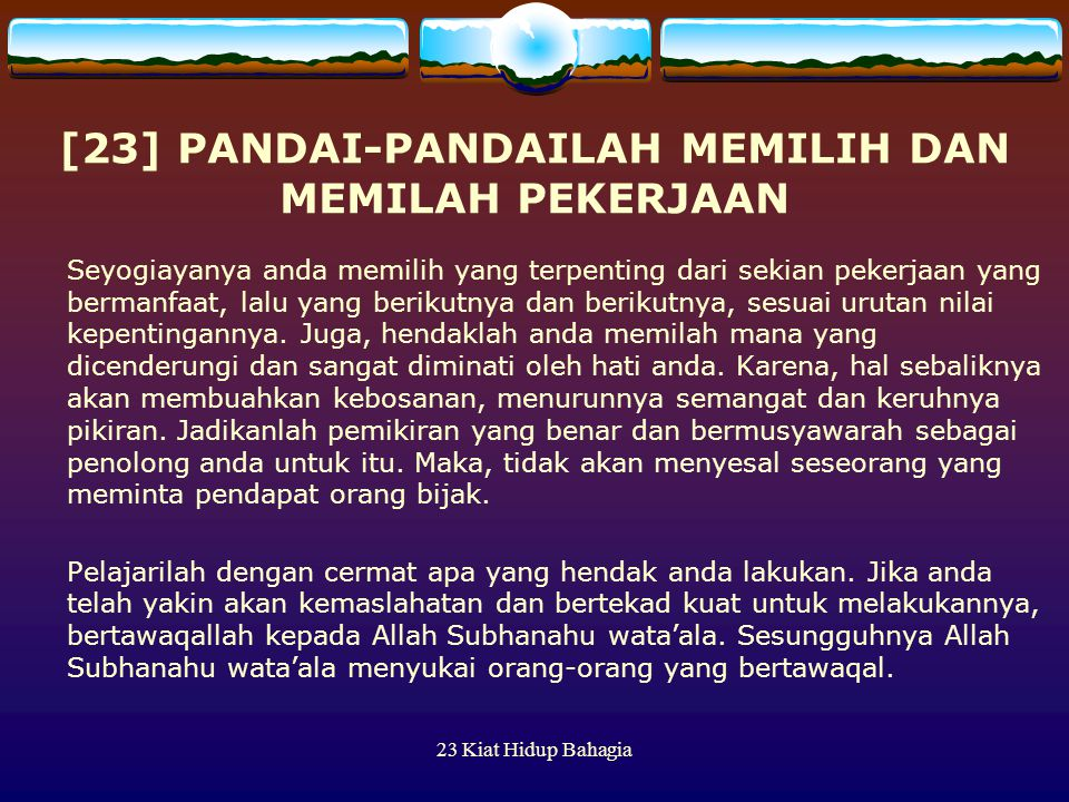 [23] PANDAI-PANDAILAH MEMILIH DAN MEMILAH PEKERJAAN